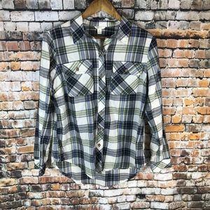 CATO B&W Plaid Button Down LS Shirt